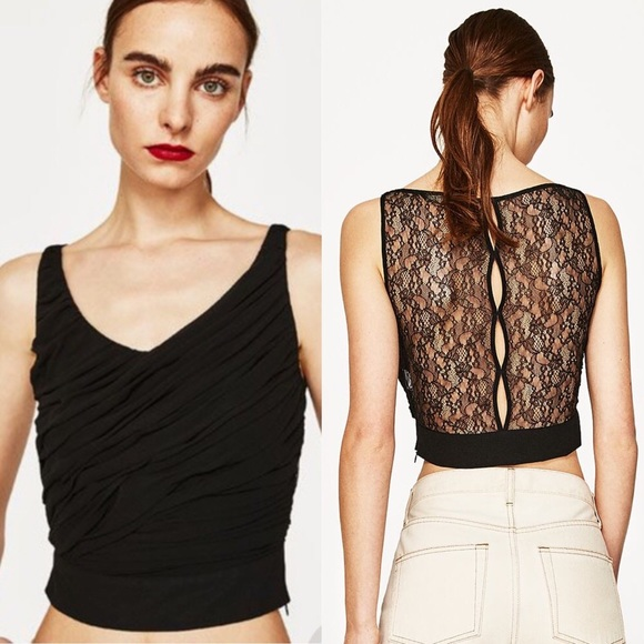 Zara Tops - [2 for 20] ✨NWT ✨ Zara Black Rouched Lace Back Top